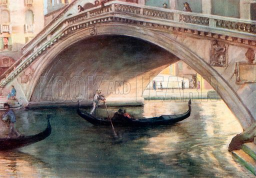 Ponte di Rialto. Illustration for Venice and its Story by T Okey (Dent, 1910).