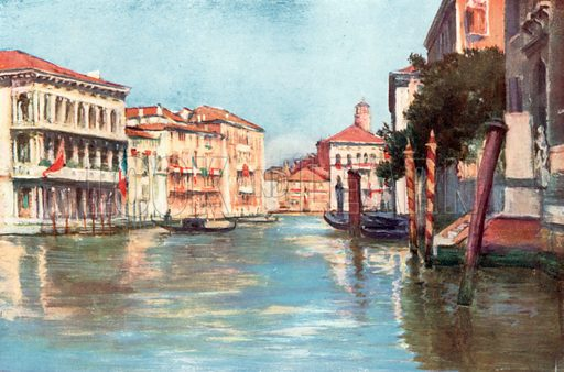 Grand Canal – Palazzi Rezzonico and Foscari. Illustration for Venice and its Story by T Okey (Dent, 1910).