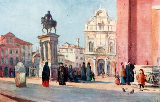 Scuola di San Marco and Statue of Colleoni. Illustration for Venice and its Story by T Okey (Dent, 1910).