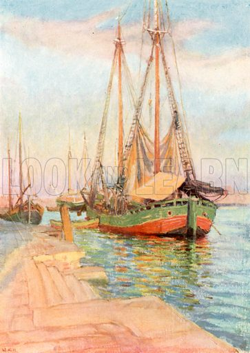 Timber Boats. Illustration for Venice and its Story by T Okey (Dent, 1910).