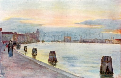 Sunset – Modern Venice. Illustration for Venice and its Story by T Okey (Dent, 1910).