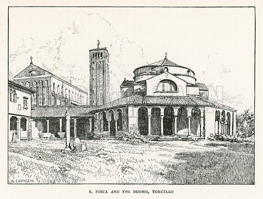 S Fosca and the Duomo, Torcello. Illustration for Venice and its Story by T Okey (Dent, 1910).