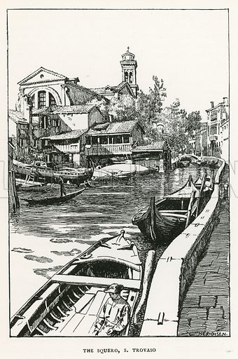 The Squero, S Trovaso. Illustration for Venice and its Story by T Okey (Dent, 1910).