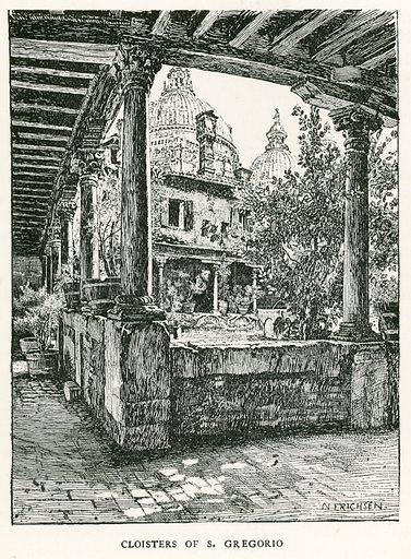 Cloisters of S Gregorio. Illustration for Venice and its Story by T Okey (Dent, 1910).