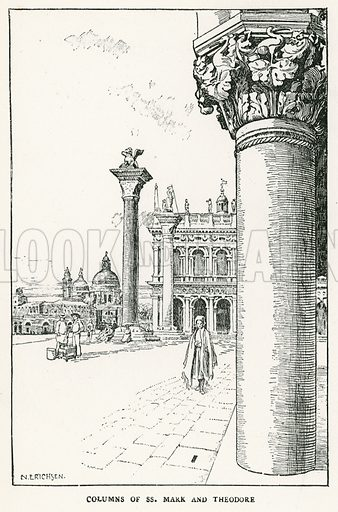 Columns of SS Mark and Theodore. Illustration for Venice and its Story by T Okey (Dent, 1910).