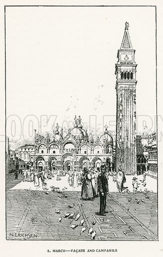 S Marco – Facade and Campanile. Illustration for Venice and its Story by T Okey (Dent, 1910).