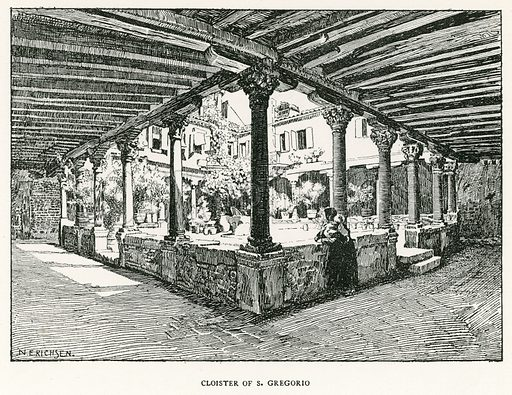 Cloister of S Gregorio. Illustration for Venice and its Story by T Okey (Dent, 1910).