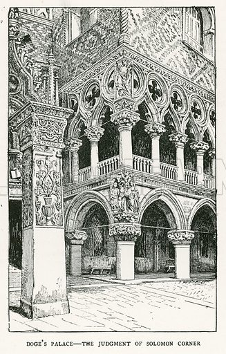Doge's Palace – The Judgment of Solomon Corner. Illustration for Venice and its Story by T Okey (Dent, 1910).