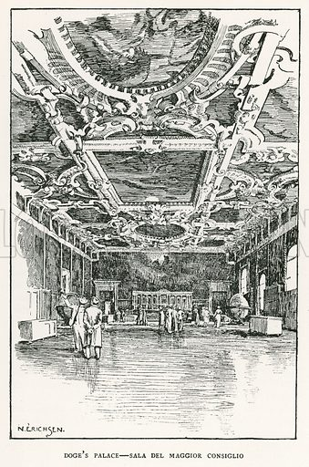 Doge's Palace – Sala del Maggior Consiglio. Illustration for Venice and its Story by T Okey (Dent, 1910).