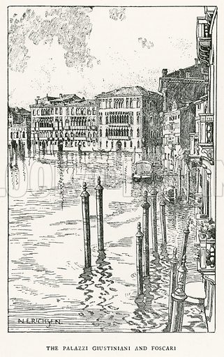 The Palazzi Giustiniani and Foscari. Illustration for Venice and its Story by T Okey (Dent, 1910).