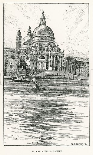 S Maria Della Salute. Illustration for Venice and its Story by T Okey (Dent, 1910).