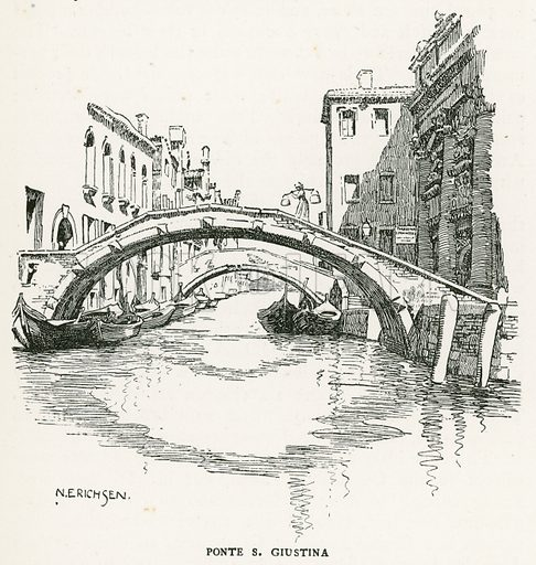 Ponte S Giustina. Illustration for Venice and its Story by T Okey (Dent, 1910).