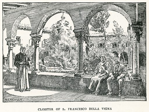 Cloister of S Francesco Della Vigna. Illustration for Venice and its Story by T Okey (Dent, 1910).