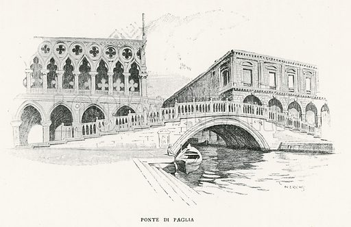 Ponte di Paglia. Illustration for Venice and its Story by T Okey (Dent, 1910).