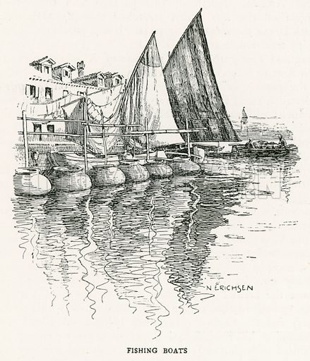 Fishing Boats. Illustration for Venice and its Story by T Okey (Dent, 1910).