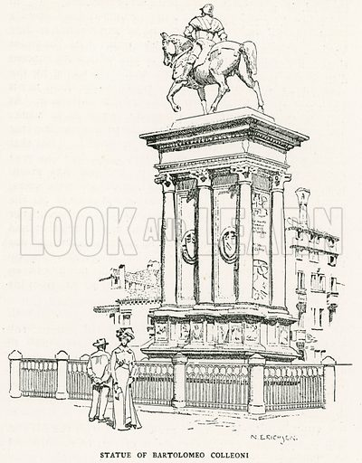 Statue of Bartolomeo Colleoni. Illustration for Venice and its Story by T Okey (Dent, 1910).