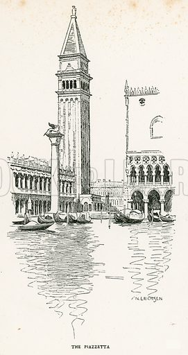 The Piazzetta. Illustration for Venice and its Story by T Okey (Dent, 1910).