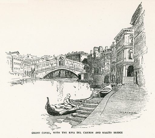 Grand Canal, with the Riva del Carbon and Rialto Bridge. Illustration for Venice and its Story by T Okey (Dent, 1910).