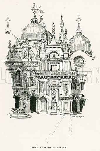 Doge's Palace – The Cortile. Illustration for Venice and its Story by T Okey (Dent, 1910).