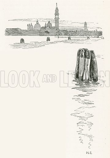 Venice from the Public Gardens. Illustration for Venice and its Story by T Okey (Dent, 1910).