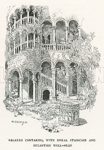 Palazzo Contarini, with Spiral Staircase and Byzantine Well-Head. Illustration for Venice and its Story by T Okey (Dent, 1910).