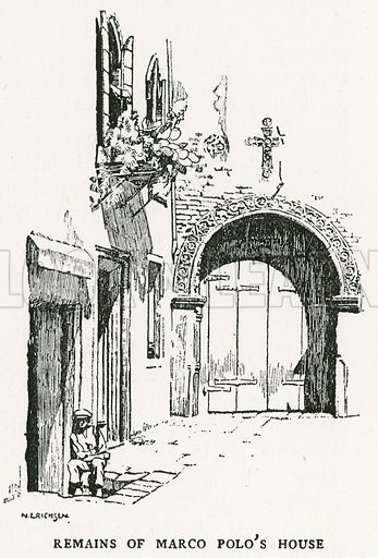Remains of Marco Polo's House. Illustration for Venice and its Story by T Okey (Dent, 1910).