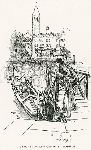 Traghetto and Campo S Samuele. Illustration for Venice and its Story by T Okey (Dent, 1910).