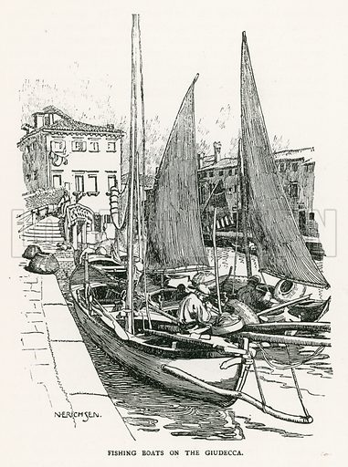 Fishing Boats on the Giudecca. Illustration for Venice and its Story by T Okey (Dent, 1910).