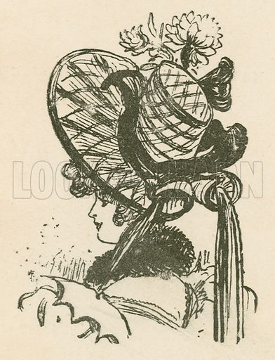 Hat. Illustration for Yester-Year – Ten Centuries of Toilette from the French of A Robida by Mrs Cashel Hoey (Sampson Low, 1892).