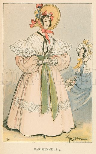Parisienne 1835. Illustration for Yester-Year – Ten Centuries of Toilette from the French of A Robida by Mrs Cashel Hoey (Sampson Low, 1892).