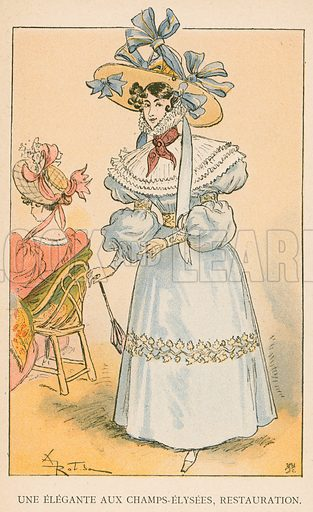 Une Elegante aux Champs-Elysees, Restauration. Illustration for Yester-Year – Ten Centuries of Toilette from the French of A Robida by Mrs Cashel Hoey (Sampson Low, 1892).