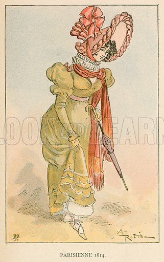 Parisienne 1814. Illustration for Yester-Year – Ten Centuries of Toilette from the French of A Robida by Mrs Cashel Hoey (Sampson Low, 1892).