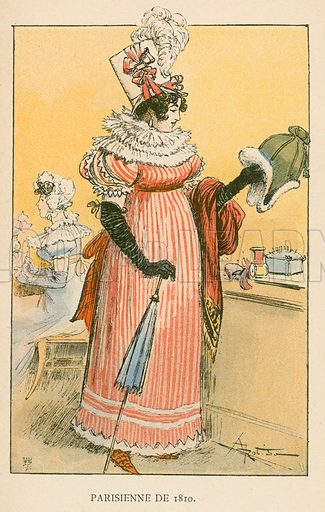 Parisienne de 1810. Illustration for Yester-Year – Ten Centuries of Toilette from the French of A Robida by Mrs Cashel Hoey (Sampson Low, 1892).