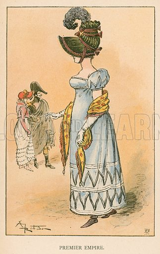 Premier Empire. Illustration for Yester-Year – Ten Centuries of Toilette from the French of A Robida by Mrs Cashel Hoey (Sampson Low, 1892).
