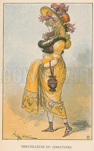 Merveilleuse du Directoire. Illustration for Yester-Year – Ten Centuries of Toilette from the French of A Robida by Mrs Cashel Hoey (Sampson Low, 1892).