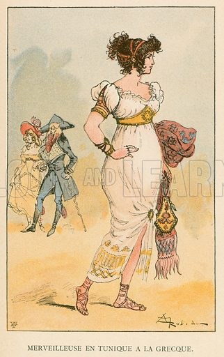 Merveilleuse en Tunique a la Grecque. Illustration for Yester-Year – Ten Centuries of Toilette from the French of A Robida by Mrs Cashel Hoey (Sampson Low, 1892).