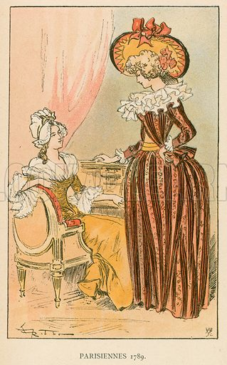 Parisiennes 1789. Illustration for Yester-Year – Ten Centuries of Toilette from the French of A Robida by Mrs Cashel Hoey (Sampson Low, 1892).