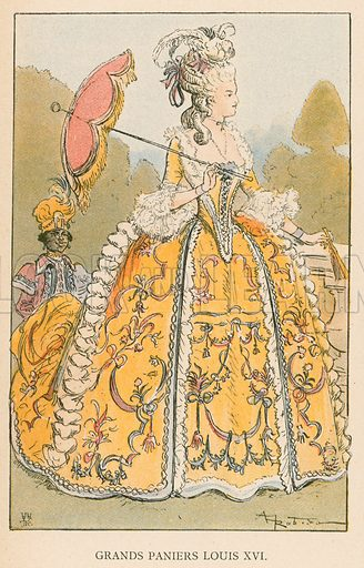 Grands Paniers Louis XVI. Illustration for Yester-Year – Ten Centuries of Toilette from the French of A Robida by Mrs Cashel Hoey (Sampson Low, 1892).