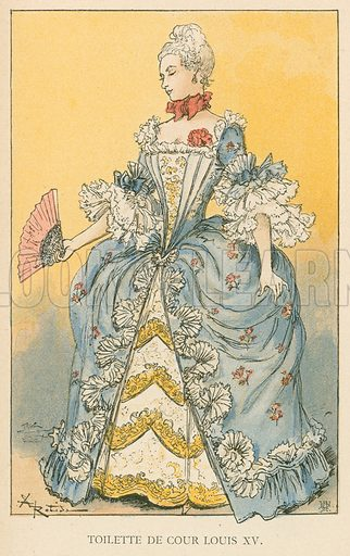 Toilette de Cour Louis XV. Illustration for Yester-Year – Ten Centuries of Toilette from the French of A Robida by Mrs Cashel Hoey (Sampson Low, 1892).