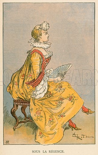 Sous la Regence. Illustration for Yester-Year – Ten Centuries of Toilette from the French of A Robida by Mrs Cashel Hoey (Sampson Low, 1892).