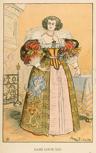 Dame Louis XIII. Illustration for Yester-Year – Ten Centuries of Toilette from the French of A Robida by Mrs Cashel Hoey (Sampson Low, 1892).