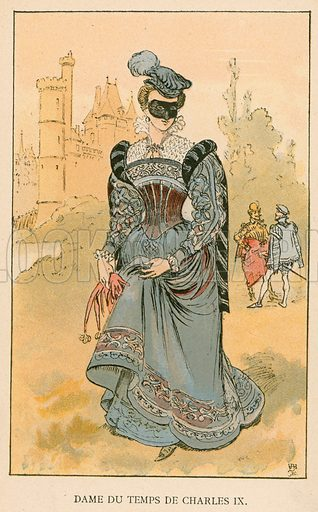 Dame du Temps de Charles IX. Illustration for Yester-Year – Ten Centuries of Toilette from the French of A Robida by Mrs Cashel Hoey (Sampson Low, 1892).