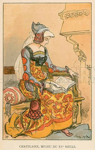 Chatelaine, Milieu de XVe Siecle. Illustration for Yester-Year – Ten Centuries of Toilette from the French of A Robida by Mrs Cashel Hoey (Sampson Low, 1892).