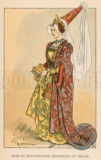 Robe et Houppelande Historiees XVe Siecle. Illustration for Yester-Year – Ten Centuries of Toilette from the French of A Robida by Mrs Cashel Hoey (Sampson Low, 1892).