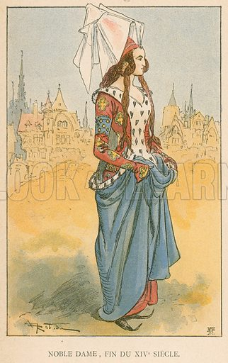 Noble Dame, Fin du XIVe Siecle. Illustration for Yester-Year – Ten Centuries of Toilette from the French of A Robida by Mrs Cashel Hoey (Sampson Low, 1892).