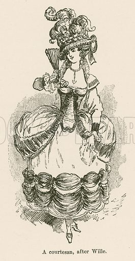 A Courtesan, after Wille. Illustration for Yester-Year – Ten Centuries of Toilette from the French of A Robida by Mrs Cashel Hoey (Sampson Low, 1892).
