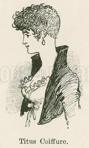 Titus Coiffure. Illustration for Yester-Year – Ten Centuries of Toilette from the French of A Robida by Mrs Cashel Hoey (Sampson Low, 1892).