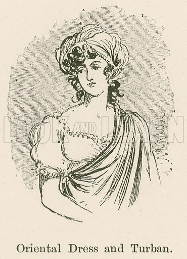 Oriental Dress and Turban. Illustration for Yester-Year – Ten Centuries of Toilette from the French of A Robida by Mrs Cashel Hoey (Sampson Low, 1892).