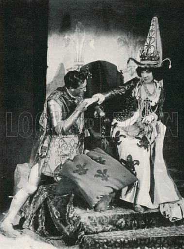 Mr. and Mrs. Benson as 'King Henry V' and 'Catharine of France'. Illustration for The Windsor Shakespeare edited by Henry Hudson (Caxton, c 1925).