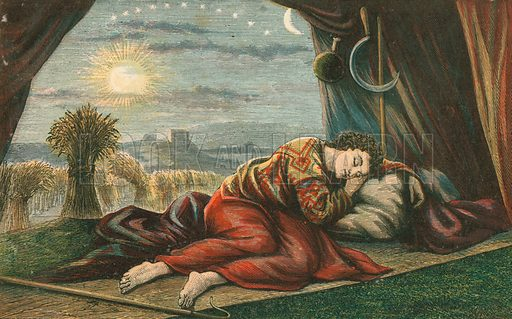 Joseph's dreams. Illustration for Aunt Louisa's Sunday Picture Book, printed in Colours by Kronheim (Frederick Warne, c 1890).